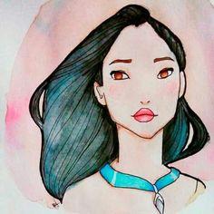 Desenho Pocahontas aquarela