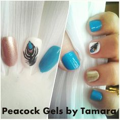 Practice Inspiration Gel and Polish. PEACOCK: My Mascot :)  For Manicure And Pedicure