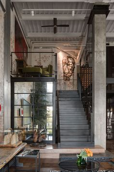 Hayloft in Kyiv, Ukraine designed by Loft Buro Industrial Home Design, Industrial House, Industrial Interiors, Loft Design, Interior Design Studio, Contemporary Architecture, Interior Architecture, Building Architecture, Amazing Architecture