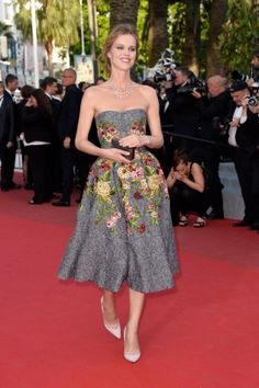 "Eva Herzigova looked lovely in a floral dress at the premiere of ""Two Days, One Night"" at Cannes on May 20, 2014."