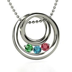 Round Sterling Silver Necklace with Ruby, Emerald and Blue Topaz Gems.  (You can customize the birth stones)  This would make a great Mother's Day gift.
