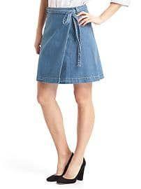 Denim A-line wrap skirt