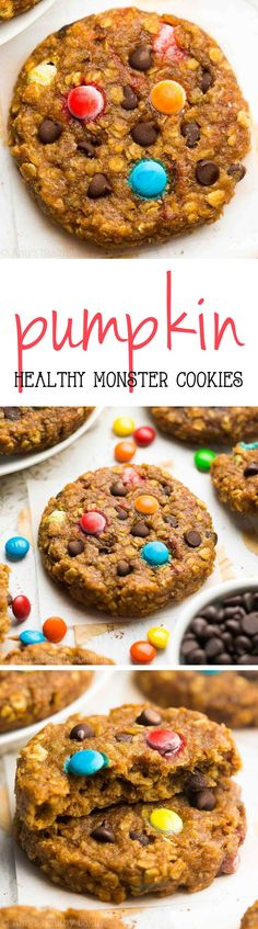 Healthy Pumpkin Monster Cookies -- peanut butter oatmeal with LOTS of chocolate & pumpkin! Just 107 calories! You'll never use another monster cookie recipe again!