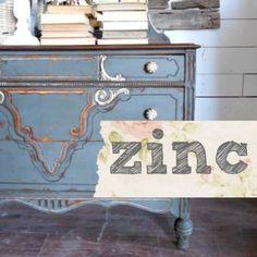 Sweet Pickins Milk Paint | Color - ZINC | Farmhouse Cottage | Chippy | Rustic | Primitive | Furniture Paint | Home Decor | Grey | Gray