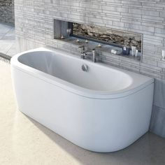 Cayman D Shaped Double Ended Back To Wall Bath PLUS Waste - Victoria Plum - £209