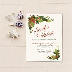 green floral christmas inspired winter wedding invitation ewi