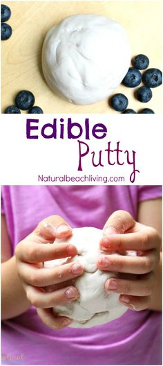How to Make Edible Putty - Easy 2 Ingredient Recipe - Natural Beach Living Homemade Face Paints, Homemade Paint, Homemade Playdough, Edible Sensory Play, Edible Slime, Diy Slime, Easy Diy Crafts, Diy Crafts For Kids, Simple Crafts