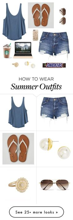 """The best summer outfit"" by theblonde07 on Polyvore featuring RVCA, American Eagle Outfitters, Topshop, Ray-Ban, Casetify, BaubleBar, Jamie Wolf and blondiesfaves"