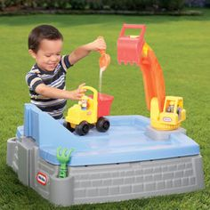 Kids Sand Box Toddler Outdoor Backyard Big Digger Play Toy Sandbox Pit Games New Kids Sand, Sand Play, Little Tikes Sandbox, Sandbox With Lid, Outdoor Play Equipment, Sand Toys, Construction Theme, Backyard Play, Popular Toys