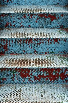 blue & red metal stairs