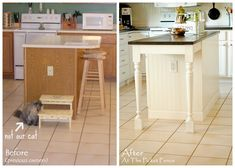 Kitchen Island Makeover  At The Picket Fence:  Beadboard, butcherblock and table legs - oh my!...