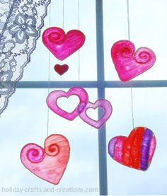 Prev9 of 11Next Stained Glue Valentines Day Hearts If you have a large window without blinds, these Stained Glue Valentine's Hearts will brighten up your home. I like this craft because the hearts mimic stained glass. How cool is that? Make sure to check out the tutorial for this craft at Holiday Crafts and Creations. …
