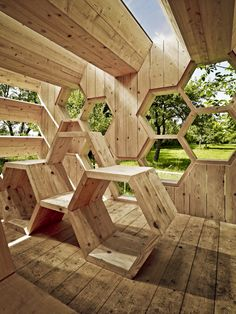 AtelierD's Giant Honeycomb Bee Hotel Attracts Pollinators & Humans Alike K-Abeilles Hotel for Bees-AtelierD – Inhabitat - Sustainable Design Innovation, Eco Architecture, Green Building French Architecture, Interior Architecture, Origami Architecture, Wooden Pavilion, Vertical Farming, Play Houses, Backyard, Projects, Wild Bees