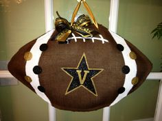 Vanderbilt University Football - Burlap Door Hanger. $30.00, via Etsy.