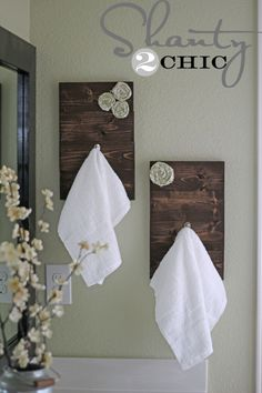 DIY towel holders- much better than silver ones I have to polish finger prints off of!