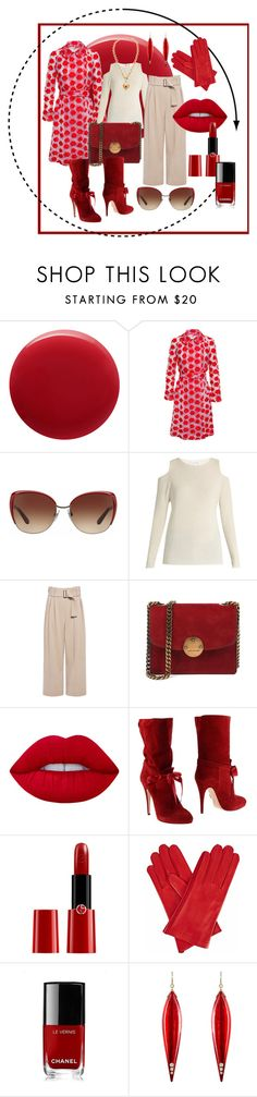 """""""Red"""" by joie64 ❤ liked on Polyvore featuring Oribe, Simone Rocha, Dolce&Gabbana, Velvet by Graham & Spencer, A.L.C., Lime Crime, Casadei, Giorgio Armani, Gizelle Renee and Chanel"""