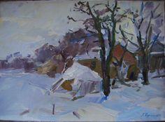 Russian Ukrainian oil painting, 'Landscape Winter Village'
