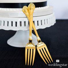 Cake Fork Set - Classic Gold Romance from HotRef.com #goldwedding #cakefork