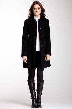 Kenneth Cole Wool Plush Fit and Flare Coat $89.00