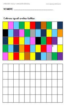 Fichas de diferentes niveles para trabajar la atención visual y la orientación espacial.
