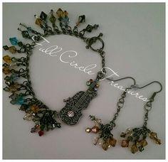 "Violin bracelet, handmade earrings, music, gift for her, original design, violin, 8"" Violin bracelet with crystals & 2"" crystal earrings - pinned by pin4etsy.com"