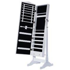 DXP 156 x 41 x 38 cm Schmuckschrank Spiegelschrank Standspiegel Weiß Spiegel Deko JCYJ07
