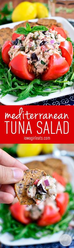 Mediterranean Tuna Salad is fresh and light - serve in a tomato, on a salad, between two slices of bread, or with crackers #glutenfree