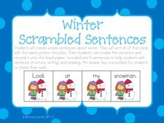 Winter Scrambled Sentences - kids can build 5 winter themed sentences to work on sentence structure, writing, and reading.