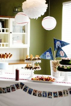 baseball party ideas, white baseball lanterns with red ric rac by sadie