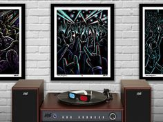 Mudra - Throwing Horns 3D Concert Poster - limited edition, hand-titled and numbered (1 of 50) Red/blue 3D glasses included  Archival Giclee print on medium weight Epson Ultra Premium Matte paper. 16x20 Poster Print - standard size for easy framing, no mat required.  Original 3D illustration presented in eye-popping 3D with included red/blue glasses. Bring your own soundtrack!  With your new glasses, you can also view the entire Concerto Collection and more in 3D at…