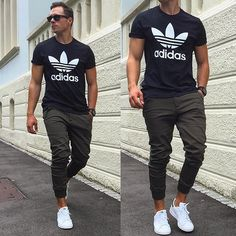 Classic, hip but simple. Joggers, Adidas shoes, Adidas shirt = hip cool street style look. (V.)