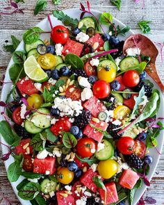 This salad by has everything you're looking for ~ Crisp Cool Watermelon, Fresh Herbs, Salty Feta, Juicy Tomatoes & a Sweet &… Watermelon Mint Salad, Cherry Tomato Salad, Cherry Tomatoes, Potluck Salad, Herb Salad, Feta Tomato Salad, Lime Vinaigrette, Summer Salads, Vegetarian