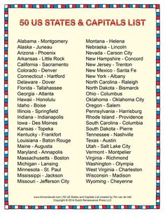 Printable States and Capitals List Social Studies Study Guides
