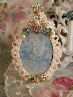 Shabby Oval Small Jeweled Frame $45