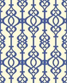 Balustrade Sapphire (950603) - Sophie Conran Wallpapers - A beautiful, intricate symmetrical trellis pattern with a pearlescent/lustre sand effect texture - shown here in the dark blue on cream colourway.  Paste the wall. Please request sample for true colour match.