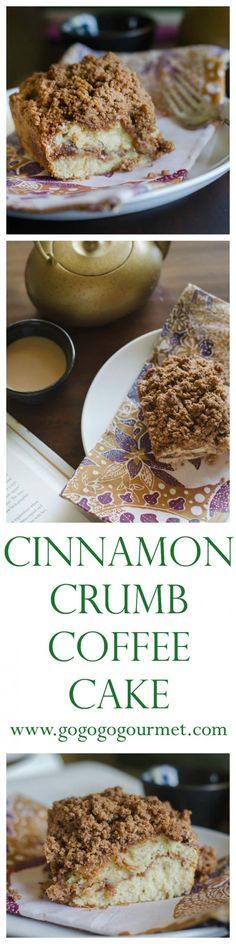 This cinnamon coffee cake recipe is moist, buttery, and full of cinnamon flavor. This is the best recipe for cinnamon crumb cake out there! via @gogogogourmet