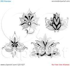 Clipart of Black and White Henna Flowers 2 - Royalty Free Vector Illustration by Seamartini Graphics