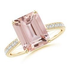 Love this Jewelry Style from Angara! Emerald Cut Morganite Cocktail Ring with Diamond Accents
