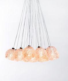 Serenade Pendant Light Fixture / Hand Made / light Pink Roses Pendant bodies of light