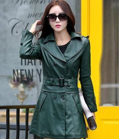 f0d6f5a92d0 Green Jacket Green Coats for Women Removable Cropped Jacket Leather Jackets  for Women Dual Purpose