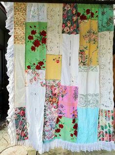 Shabby Chic Shower Curtain, Shabby Chic Curtains, Diy Curtains, Gypsy Chic Decor, Bohemian Decor, Boho Chic, Patchwork Curtains, Flower Wall Wedding, Rustic Fabric