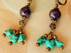 Boucles d'oreille ethniques de pierres et bronze antique, turquoise veritable et améthyste Pierre Turquoise, Bronze, Drop Earrings, Bracelet, Etsy, Jewelry, Fashion, Vintage Romance, Bead