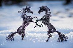 Nevena Atanasova biegt Tiere aus Draht  Mehr als Draht braucht die bulgarische Künstlerin Nevena Atanasova nicht, um äußerst realistische Skulpturen von Tieren zu formen. Sei es ein sic...
