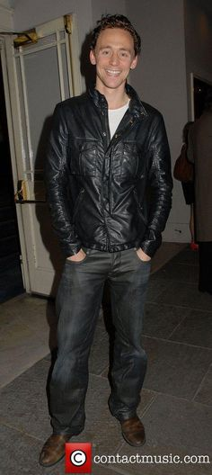 Tom Hiddleston @ the Cause Celebre press night at The Old Vic Theatre wearing a black leather jacket and jeans