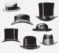 HATS Free Vintage Vector Printable | https://www.freevintagevectors.co/single-post/hats