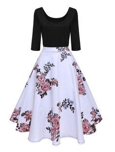 Autumn Winter Dress Women 2018 Hepburn Floral Print Vintage Dress Sleeve Elegant Party Dresses Plus Size Jurken Pretty Outfits, Pretty Dresses, Beautiful Dresses, Elegant Party Dresses, Casual Dresses, Teen Fashion Outfits, Fashion Dresses, Mode Vintage, Vintage Style