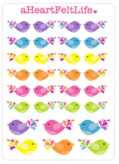 Colorful Little Bird Stickers by aHeartFeltLife www.etsy.com/shop/aheartfeltlife
