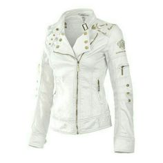 """White Moto Jacket Lightweight, white motorcycle jacket with gold studs, zippers & leaf embroidery accent at shoulder, & sleeves , gold buckle closure at collar,  95% cotton, 5 % spandex. Great piece to dress up or down. Approximate measurements below: S: bust 16"""", length 23"""", shoulder 16"""", sleeve 20"""" M: bust 17"""", length 24"""", shoulder 17"""", sleeve 22"""" L: bust 18"""", length 25"""", shoulder 18"""", sleeve 24"""". NOTE: PLEASE do not purchase this listing. Let me know what size you want & I will create…"""