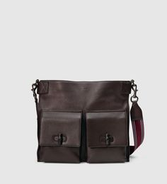 Gucci - leather messenger bag with bamboo details 387095A88KR2173