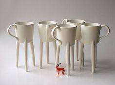 Giraffa tazze 2x tazze di caffè unica ceramica di escueladecebras, $78.00